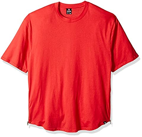 Southpole mens Big and Tall Short Sleeve Basic Scallop Tee With Side Zipper Details Short Sleeve T-Shirt  - red -