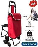 Tavalax® Tris Floral Einkaufstrolley & Trolley Gestell Stahl klappbar & Wasserdicht Climb Cart (Red NEW)