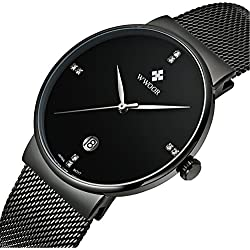 ETOWS® Men Watch Men Stainless Steel Mesh Strap Thin Dial Clock Man Casual Quartz watch Black