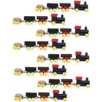 MagiDeal 8 Set de 1/12 Tren Locomotora Carruajes de Madera Pintada Juguete en Miniatura para Casa de Muñeca
