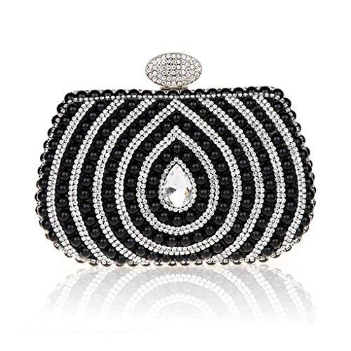 KAXIDY Imitation Perle Strass Designer Damentasche Tasche Clutches Handtasche Abendtasche Unterarmtasche (Schwarz) (Handtaschen Perlen Handtaschen Designer-handtasche)