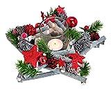 GW GmbH Adventsgesteck Glitzer Stern rot Sterne Tischkranz Tischdeko Teelichthalter Kerzenhalter Holz Natur Gesteck Weihnachten Weihnachtsdeko Windlicht