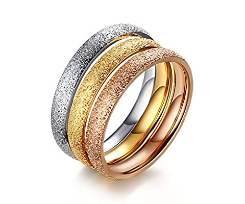 Vnox Womens 3pcs Stainless Steel Stackable Wedding Band Ring Matte Finish,Silver Gold Rose,Trible 3 in 1