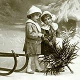 Weihnachten Vintage Servietten Kinder Tanne 20 Stück 3-lagig 33x33cm