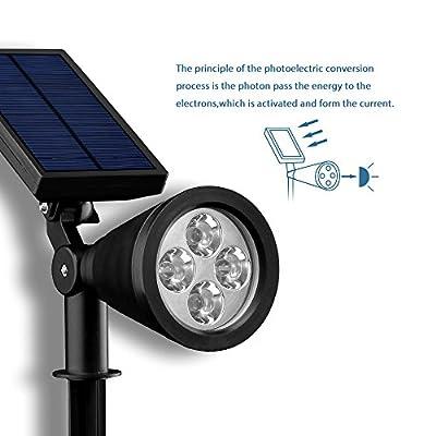 Mpow Solarstrahler, 4 LED Gartenstrahler solar,Garten Solarleuchten,solarlampe für Außen,2 Beleuchtungsmodi, Wasserdicht,Superhelle Garten-Licht, Solarlicht, Aussenlicht für Garten, Hof, Pfad von Mpow auf Lampenhans.de