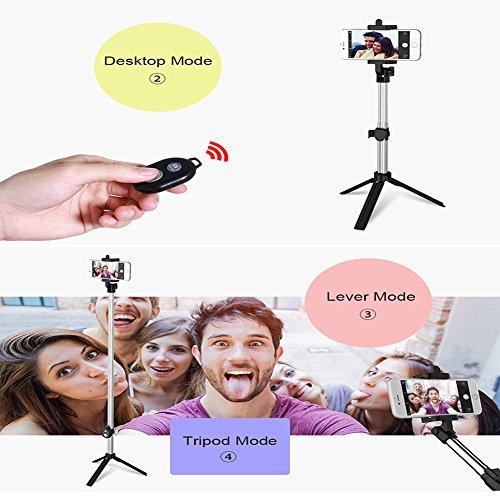 Anggo kabelloser Bluetooth Selfie-Stick, ausziehbar, mit Fernbedienung und integriertem Stativ für Reisen, Heim-Videos - kompatibel mit iPhone, Samsung, Android Handys - 6
