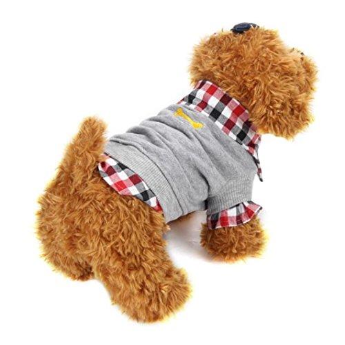 Haustierkleidung,Hund Katze Hemd Winter warm Kleidung Pullover Kostüm Jacke Mantel von Sannysis (grau, M) (Jacke Haustier Kostüm)