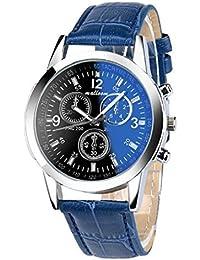 Toamen Moda De Lujo Faux Leather Relojes De Cuarzo para Hombre (C) 3521301a314