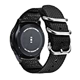 Bande de Nylon Souple OTAN renforcée pour Bande de roulement Samsung Gear S3 22mm, Attache et adaptateurs en métal brossé, Compatible avec Samsung Gear S3, (Noir 22mm)