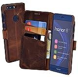 Honor 8 | Honor 8 Premium - Suncase Book-Style (Slim-Fit) Ledertasche Leder Tasche Handytasche Schutzhülle Case Hülle (mit Standfunktion und Kartenfach) antik coffee