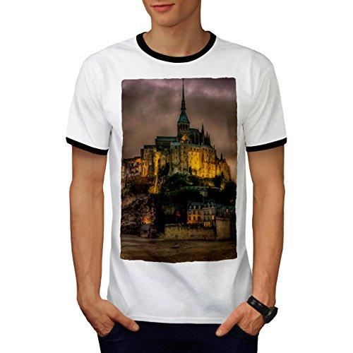 Frankreich Schloss Mode Bewölkt Himmel Herren M Ringer T-shirt | (Männlich Frankreich Kostüm)