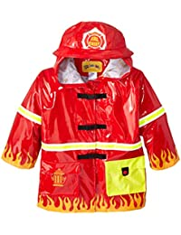 Kidorable Red Fireman All-Weather Raincoat for Boys w/Fun Flames, Chief Badge, Reflective Strips