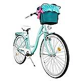 Milord. 2018 Komfort Fahrrad mit Korb, Hollandrad, Damenfahrrad, 1-Gang, Aqua Blau, 26 Zoll