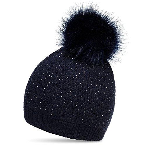 CASPAR MU191 Damen Fein Strick Winter Mütze mit Fellbommel und dezentem Glitzer Strass, Farbe:dunkelblau;Größe:One Size