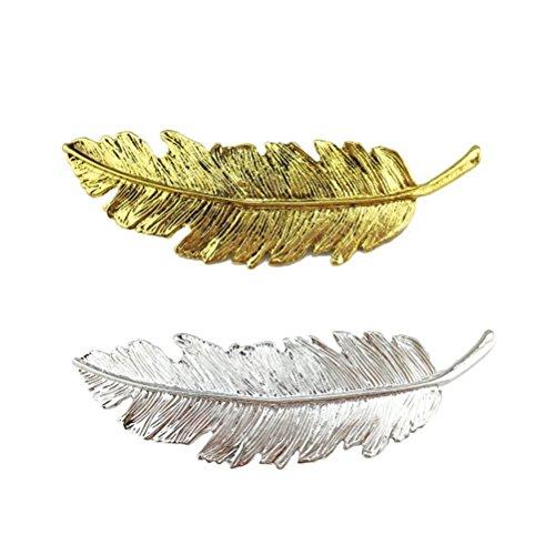 Cuhair Lot de 2 barrettes en forme de plume feuille pour femme/fille/punk