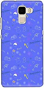 The Racoon Grip printed designer hard back mobile phone case cover for Huawei Honor 7. (Blue Chris)