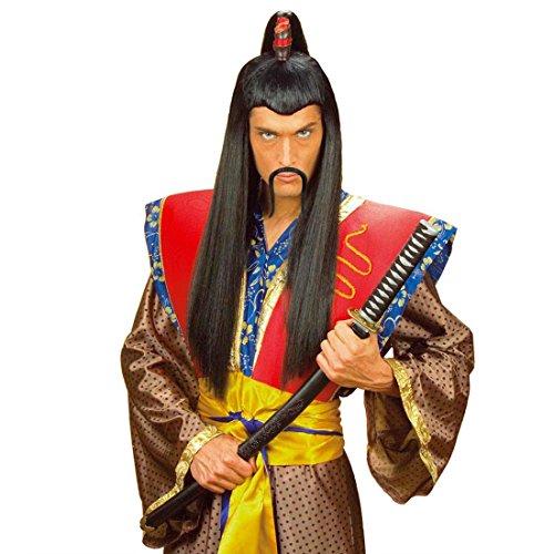 Chinesenbart China Kunstbart klebend - schwarz Chinese Samurai Japaner Schnurrbart Asien Schnauzer Dschingis Khan Falscher Bart Mongole Faschingsbart