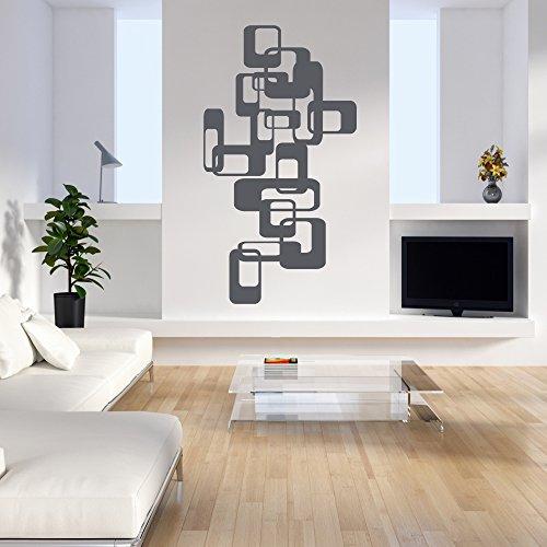 malango® Wandtattoo Retro Blocks Blöcke Ornamente Wandaufkleber Wand Tattoo Aufkleber ca. 77 x 140 cm anthrazit