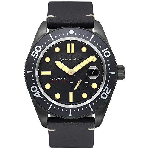 SPINNAKER Men's Croft 43mm Black Leather Band Steel Case Automatic Grey Dial Analog Watch SP-5058-07