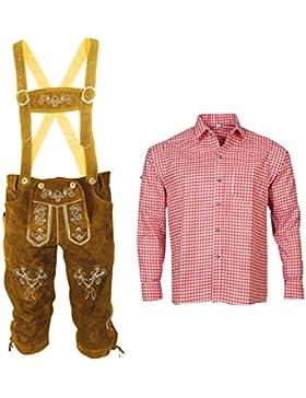 Lederhose + Hemd Trachtenset Bayerische Trachtenhose Oktoberfest Leder Hose Trachten BR01