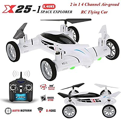 Flying Car Rc Drone Quadcopter 4 Channel 2.4ghz X25 6 Axis Flying Wheels Gift.