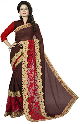 Vedant Vastram Women's Georgette Embroidered Saree With Blouse Piece (Brown & Red Colour) Designer Saree