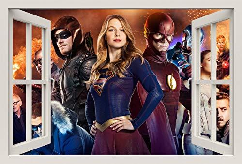 Unified Distribution Arrow Supergirl Flash Legends of Tomorrow - Wandtattoo mit 3D Effekt, Aufkleber für Wände und Türen Größe: 92x61 cm, Stil: Fenster (Die Flash-wandtattoo)