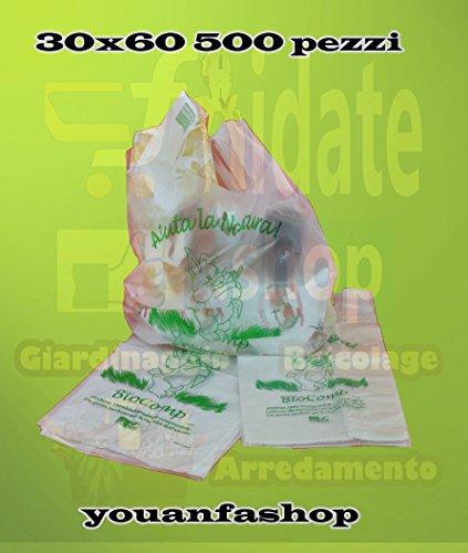 SCONTO 25% Buste Shopper Biodegradabili Compostabili, cm 30+18x60   Scatola da 500 sacchetti. A Norma EN13432.