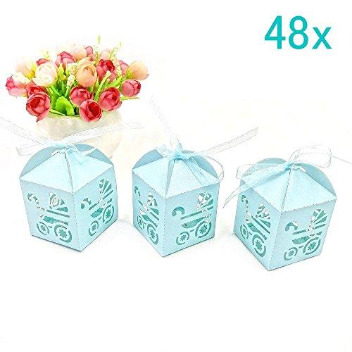 Jzk 48 carrozzina azzurra blu scatola portaconfetti scatolina bomboniara segnaposto per festa battesimo nascita comunione compleanno bimbo bambino maschio