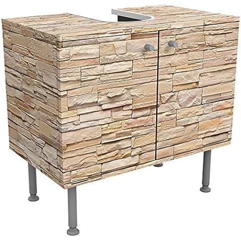 Mueble bajo armario Design Asian Stonewall–Large Brigth Stone Wall of Cosy Stones 60x 55x 35cm, pequeño, 60cm de ancho, ajustable, mesa de lavabo, armario de lavabo, lavabo, mueble bajo, bañera, cuarto de baño, armario para el baño, 55x60cm