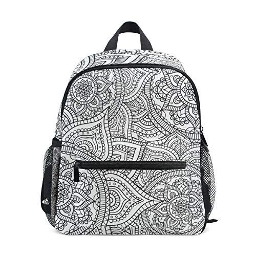 Indischer Mandala weiß Psychedelic Henna Kleinkind Rucksack Schultasche Multi Cute Bookbags für Schule Jungen und Mädchen Kid Bags Kinder Reise Daypack 3-8 Jahre alt Vorschule