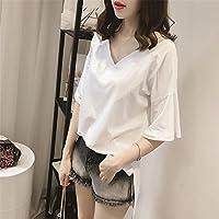 TAIDUJUEDINGYIQIE Camiseta de manga corta para mujer Summer New Color sólido Manga corta suelta, Blanco, XXL