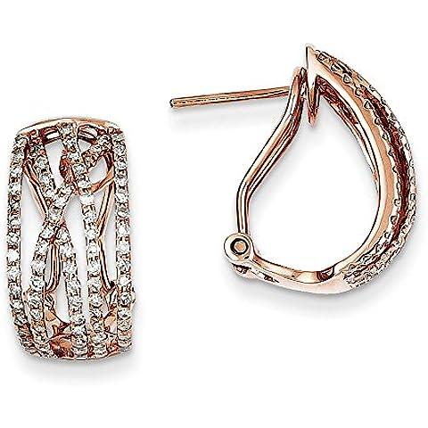 14kt oro rosa diamante Omega Indietro Orecchini