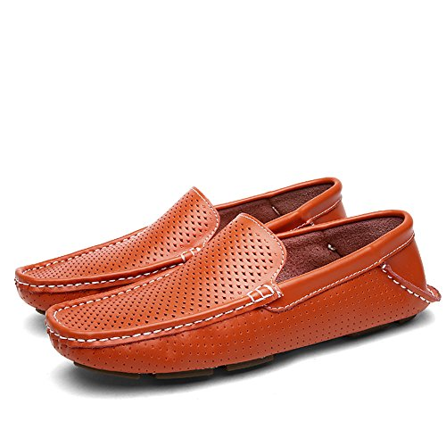 Shenn Männer Höhlen Beiläufige Slip auf Flache Orange Leder Faulenzer Schuhe EU42 1717 wUKwH72
