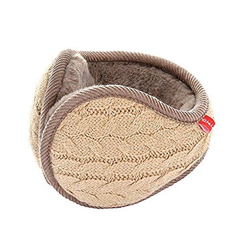Uniquebella Ear muffs Wrap around Foldable Adjustable Knited Unisex Ear warmer Winter Beige
