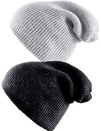 2 Pezzi Cappello Beanie in Lana Cappello Caldo Invernale Cashmere Lavorato  a Maglia Come Cappellino per 2dacf5a12d17