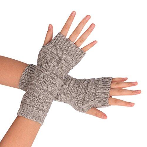Vovotrade A maglia Guanti senza dita braccio invernali unisex calda molle Mitten (grigio)