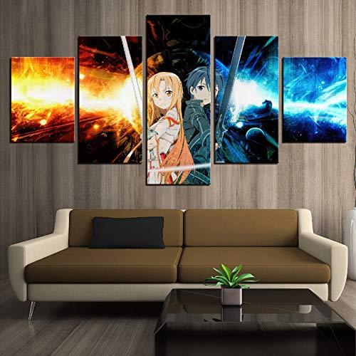 zysymx Peinture décoration de la Maison 5 pièces d'épée Art en Ligne Photos Impression Moderne Anime Affiche Salon Mur Art Cadre
