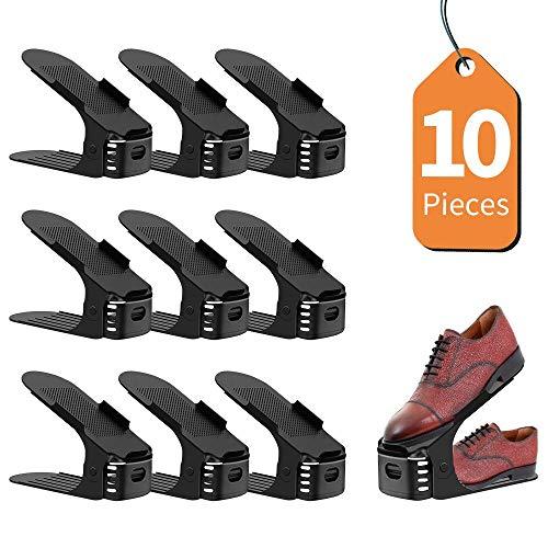 LENTIA Support de Chaussures Réglables aux 3 Niveaux, Rangement des Chaussure, Organisateur des Chaussues, Lot de 10 Pieces (Noir)