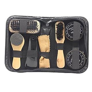 Accessotech 8-in-1-Set zum Polieren von Schuhen, Politur, Reinigungsbürsten in einem Reise-Etui