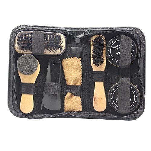 Accessotech Kit d'entretien de chaussures 8 en 1 Cire et brosses pour chaussures noires et neutres, avec trousse de transport
