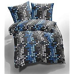 Etérea 2 tlg. Mikrofaser Bettwäsche Kreise Muster - Ganzjahres & 4-Jahreszeiten Bettwäsche-Set - 135x200 cm + 80x80 cm - Blau Grau
