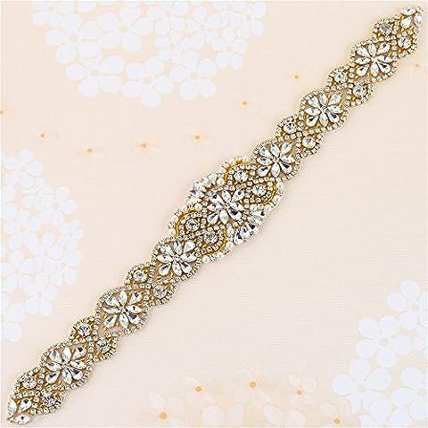 Mariage Ceinture Strass appliqué avec cristaux et Pearls-sew ou de colle pour DIY Mariage Sash