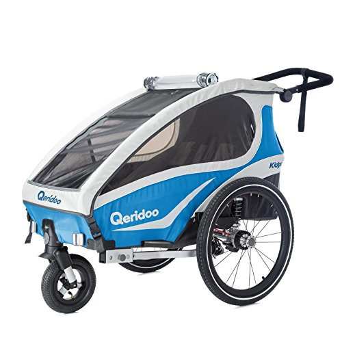 Qeridoo Kidgoo 1 Fahrradanhänger, 2018 inkl. Sicherheits-Upgrade, Farbvariante:blau