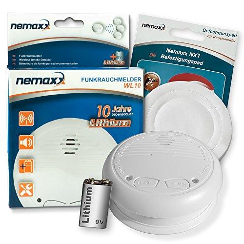 1x Nemaxx WL10 Funkrauchmelder - mit 10 Jahre Lithium Batterie Rauchmelder Feuermelder Set Funk koppelbar vernetzt - nach DIN EN 14604 + 1x NX1 Quickfix Befestigungspad