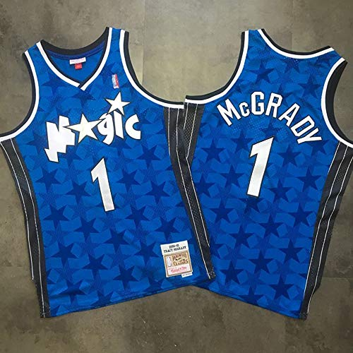 YB-DB Basketball-Trikots - Orlando Magic # 1 McGrady Blue Mesh Dark Star Schwarz Sommersport-Kostüm Sportbekleidung Bekleidung - Eishockey Fan Kostüm