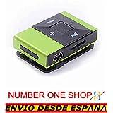 NUMBERONESHOP- MP3, Mini, con clip, en verde, reproductores de musica verde--ENVIO DESDE ESPANA