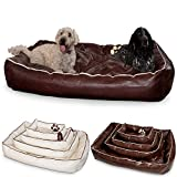 Smoothy Hundekorb aus Leder; Hunde-Körbchen; Hundebett für Luxus Vierbeiner; Braun Größe XXL (145x100cm)