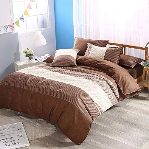 MWPO Bettbezug-Sets Gestreifter Druck Schlafzimmer mit Doppelbett Atmungsaktiv Komfort Doppelzimmer Wendbar mit Reißverschluss Polyester Bettwäsche Set Bettbezug 172x218cm Kissenbezug 50x75cm \u0 -