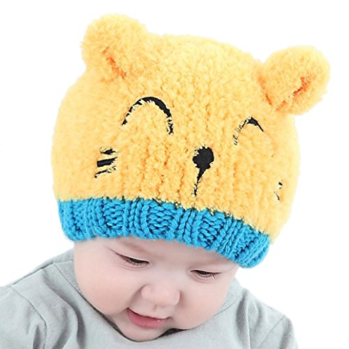 ef3ef0c6146 FALAIDUO Infant Child Kids Toddler Boy Girl Lovely Bear Soft Hat for 1-3  Years-Old (Yellow)
